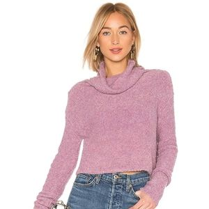 L   Free People Lavender Stormy Cowl Neck Sweater